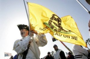 A Tea Party supporter in Revolutionary War garb carries the Gadsden Flag. The Obama administration has been clearly vindictive against conservative groups.